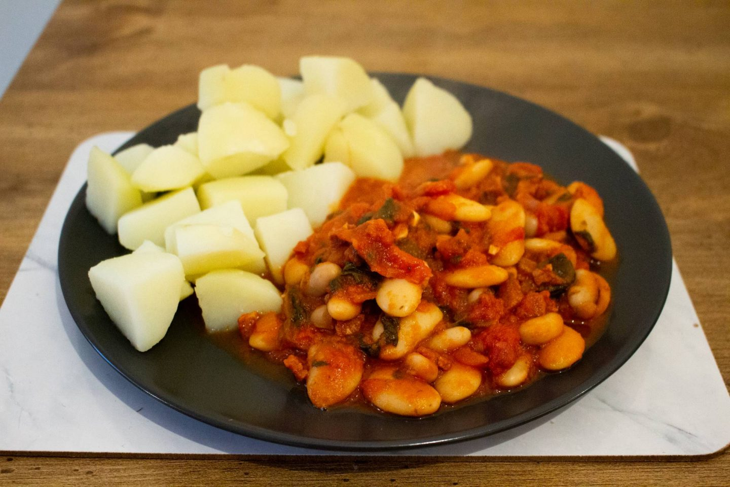 chorizo and butter bean stew with potatoes
