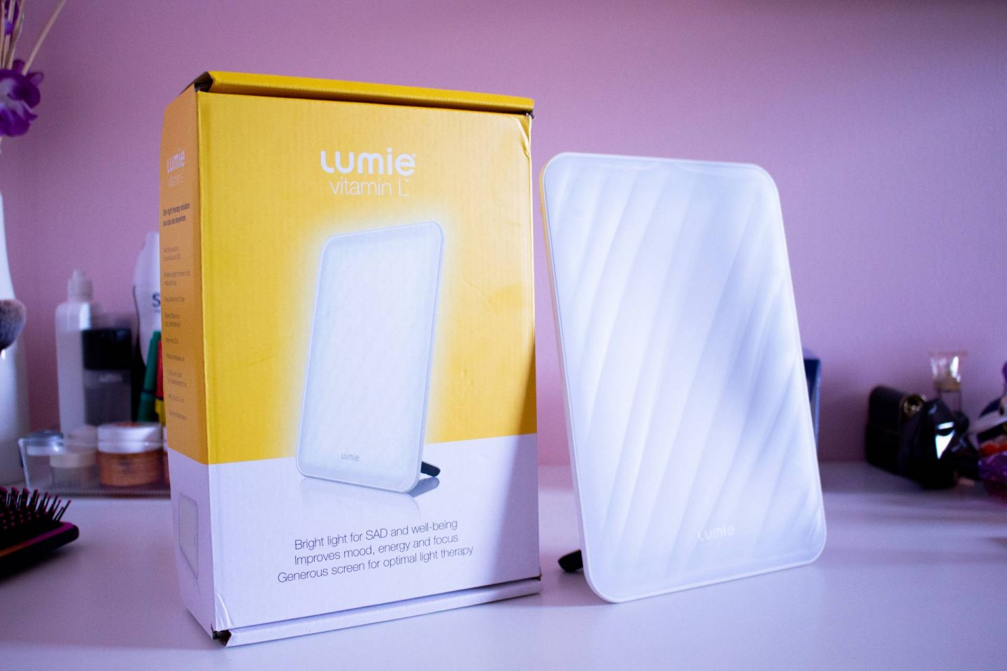 Lumie Vitamin L SAD lamp and box on dressing table